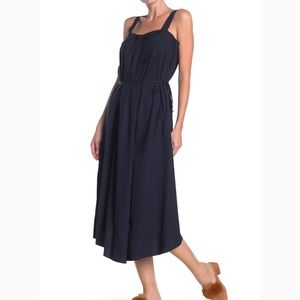 Vince. Navy Marine Midi Linen Blend Dress XXS